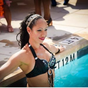 Karine, synchronized swimmer aerialist mermaid